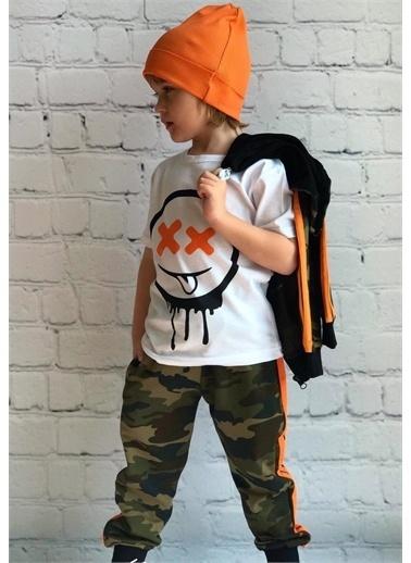 Riccotarz Erkek Çocuk Kamuflaj Neon Şeritli Eşofman Takımı Renkli
